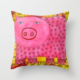 Patterned Pig Throw Pillow