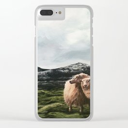 Sheep in moss fields Clear iPhone Case