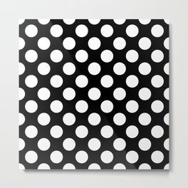 Polka Dots, Spots (Dotted Pattern) - White Black Metal Print