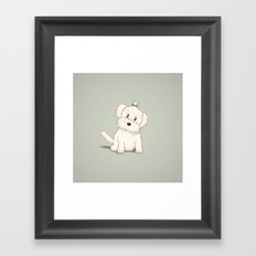 Maltese Dog Illustration Framed Art Print
