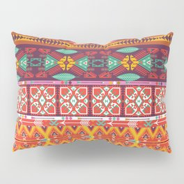 Seamless colorful aztec carpet with birds,flowers and arrow Pillow Sham