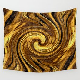 Gold Brown Abstract Sun Rotation Pattern Wall Tapestry