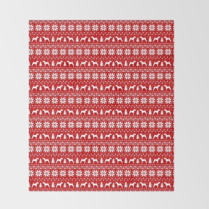 Irish Terrier Silhouettes Christmas Sweater Pattern Throw Blanket