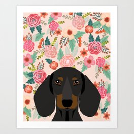 Dachshund florals cute pet gifts black and tan dachshund gifts for dog lover with weener dog Art Print