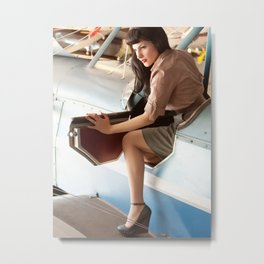 """Flight Deck"" - The Playful Pinup - Airplane Pilot Pin-up Girl by Maxwell H. Johnson Metal Print"
