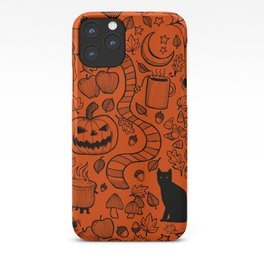 October Pattern- Black & Orange iPhone Case