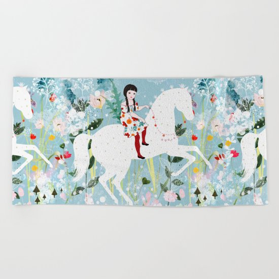 Storybook Horse Beach Towel