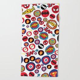 Superhero Stickers Beach Towel