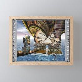 Steampunk Ocean Dragon Library Framed Mini Art Print