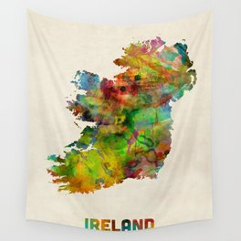Ireland Eire Watercolor Map Wall Tapestry