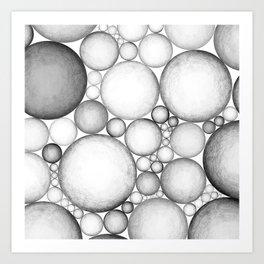 OBLIVIOUS SPHERES BLACK AND WHITE Art Print