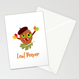 Whimsical Leaf Peeper Acorn Cartoon Stationery Cards