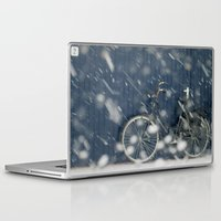 cycling Laptop & iPad Skins featuring Snow Cycling by Art de L'aube