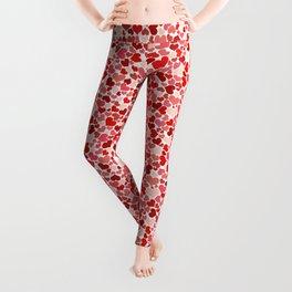 Love, Romance, Hearts - Red White Leggings