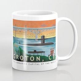 Groton, CT - Retro Submarine Travel Poster Coffee Mug