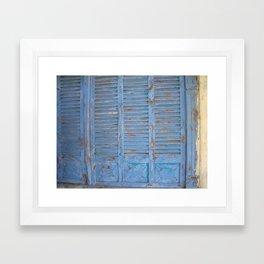 Rustic turquoise doors Framed Art Print