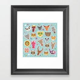 funny animals muzzle. Teal background with stars, Polka dot. Vector illustration Framed Art Print