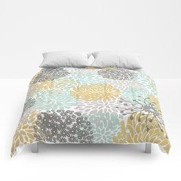 Floral Abstract Print, Yellow, Gray, Aqua Comforters