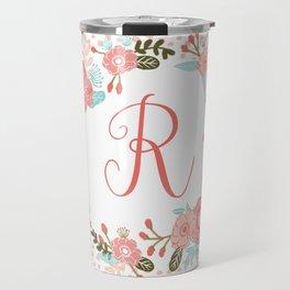 Monogram R - cute girls coral florals flower wreath, coral florals, baby girl, baby blanket Travel Mug