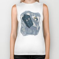hallion Biker Tanks featuring Falling by Karen Hallion Illustrations