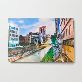 On going rapid urbanization leads to river pollution. Metal Print