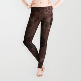 Abstract brown flowers with gold Leggings
