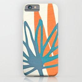 Mid Century Nature Print / Teal and Orange iPhone Case