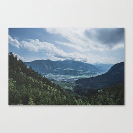 Beautiful austrian town between the mountains Canvas Print