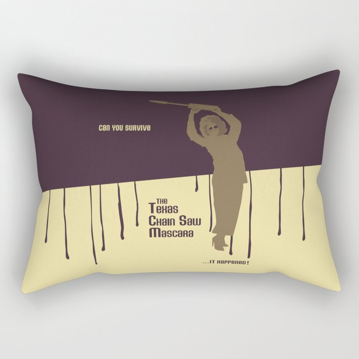 Can You Survive The Texas Chain Saw Mascara Rectangular Pillow