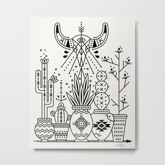 Santa Fe Garden – Black Ink Metal Print