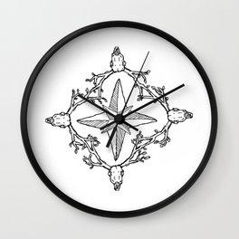 Deerskull compass Wall Clock