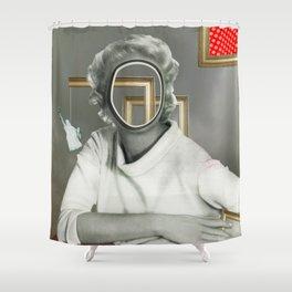 The truth is dead 88 · Aussicht, die Frau am Fenster Shower Curtain