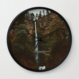 Autumn At Multnomah Falls Wall Clock