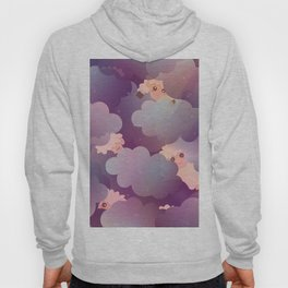 Heavenly Baby Sheep II - Wine Purple / Plum Color, Star Night Sky Background Hoody
