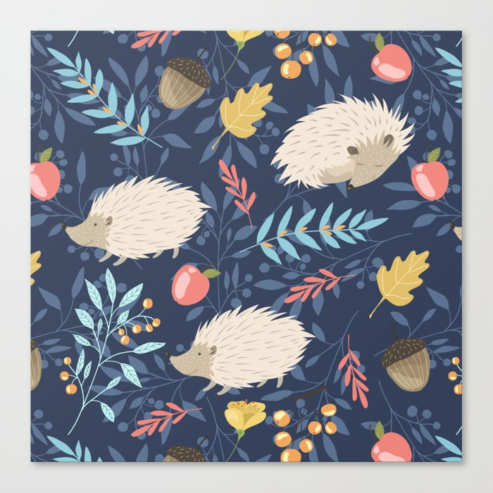 White hedgehogs Canvas Print