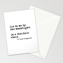 Lie to me by the moonlight - F. Scott Fitzgerald quote Stationery Cards