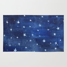 Midnight Stars Night Watercolor Painting by Robayre Rug