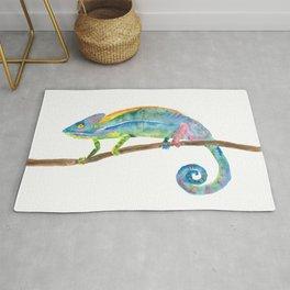 Watercolor chameleon Rug