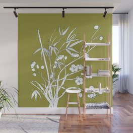 bamboo and plum flower in white on yellow Wall Mural