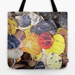 Multicolored Aspen Leaves in Woods Tote Bag