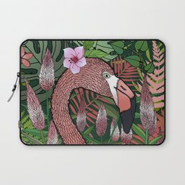Florencia the Flamingo in her Forest Full of Florals Laptop Sleeve