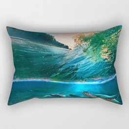 Palm Tree - Waves - Turtles - Beach - Ocean Rectangular Pillow