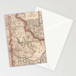 Vintage Map of Idaho (1883) Stationery Cards