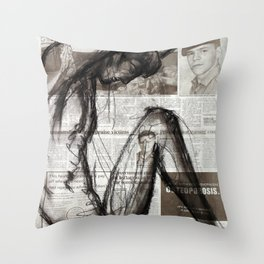 Fire Arms - Charcoal on Newspaper Figure Drawing Throw Pillow