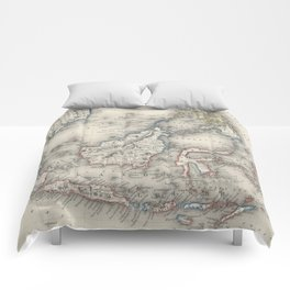 Vintage Map of Indonesia and The Philippines Comforters