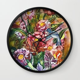 fowers and birds Wall Clock