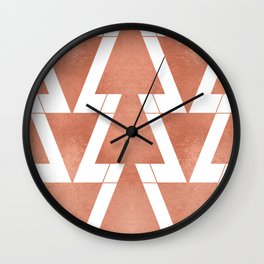 Peach Geometric Triangle Art Wall Clock