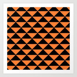 GRAPHIC GRID TRIANGLE ABSTRACT DESIGN (BLACK AND ORANGE) SERIES 2 OF 6 Art Print