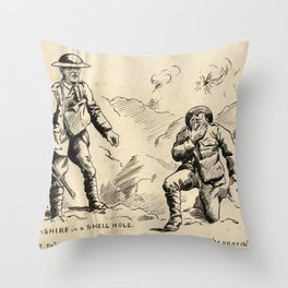 Vintage First World War Art - JM's Sketchbook - Lancashire in a Shell Hole … Prayin' Like 'Ell Throw Pillow