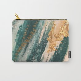 Teal and Gold Glam Abstract Painting Carry-All Pouch